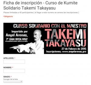 Ficha de inscripción del Curso
